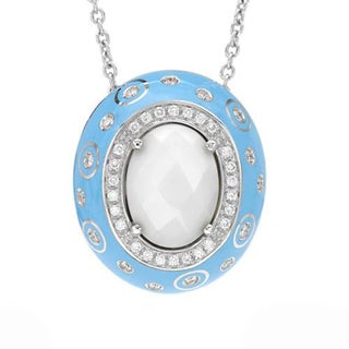 Favero Necklace with 9.05ct TW Agate and Diamonds of Icy Sky Blue Enamel and 18K White