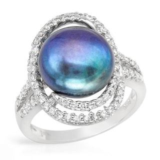 Ring with 1.3ct TW Cubic Zirconia and 12mm Freshwater Pearl in .925 Sterling Silver