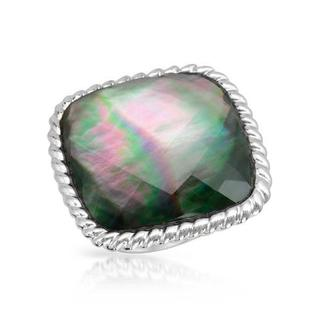 Fpj Ring with Crystal/ Mother Of Pearl .925 Sterling Silver