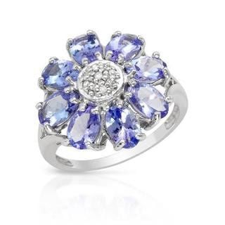 Ring with 3.68ct TW Diamonds and Tanzanites in White Gold