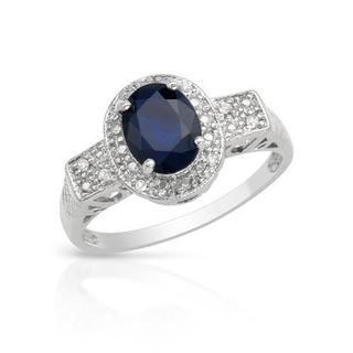 Ring with 1.59ct TW Genuine Diamonds and Sapphire in White Gold