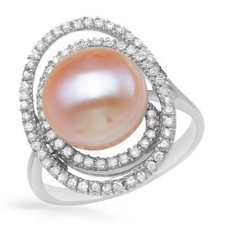 Sterling Silver 12mm Freshwater Pearl and CZ Ring