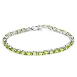 Tennis Bracelet with 16 1/2ct TW Peridots Crafted in .925 Sterling Silver