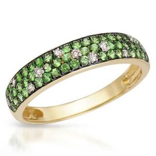 Vida Ring with Diamonds/ Tsavorite Garnets in 14K Yellow Gold