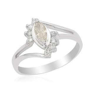 14k White Gold 0.65ct TDW Diamond Marquise Engagement Ring