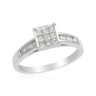 14k White Gold Princess-cut Diamond Engagement Ring