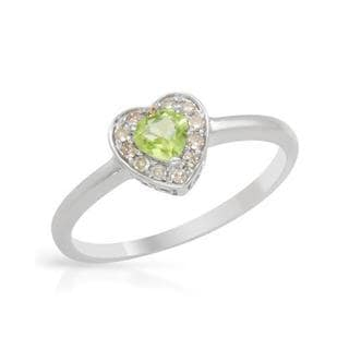 Heart Ring with Diamonds/ Peridot in 14K White Gold