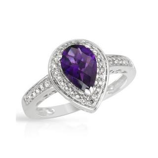 Ring with 1 1/2ct TW Amethyst and Diamonds Crafted in 14K White Gold