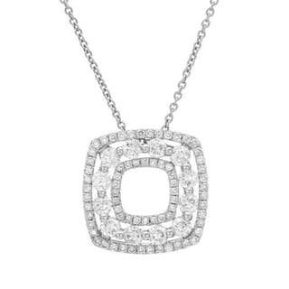 14k White Gold 1.49ct TW Diamonds Double Square Pendant Necklace
