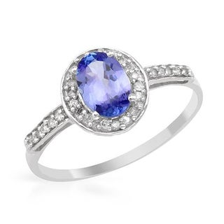 Ring with 0.89ct TW Diamonds and Tanzanite in White Gold