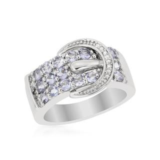 Ring with 1ct TW Diamonds and Tanzanites in .925 Sterling Silver