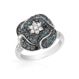 Ring with 0.75ct TW Fancy Intense Blue enhanced Diamonds 925 Sterling Silver