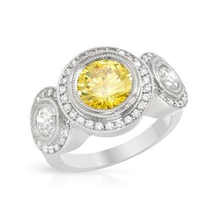 Ring with 3.52ct TW Genuine Fancy Intense Yellow enhanced Diamonds in 18K White Gold