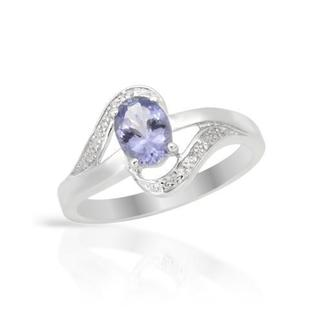 Diamonds/ Blue Violet Tanzanite Sterling Silver Size 7 Ring