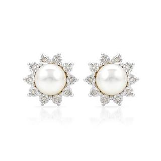 Earrings with Diamonds/ 55mmFreshwater Pearls Yellow Gold