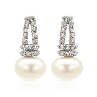 Earrings with Diamonds/ 65mmFreshwater Pearls 14K White Gold