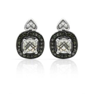 Krementz Earrings with 1.55ct TW Amethysts, Diamonds .925 Sterling Silver
