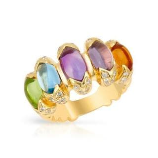 18k Yellow Gold Amethyst, Citrine, Diamond, Peridot and Topaz Ring