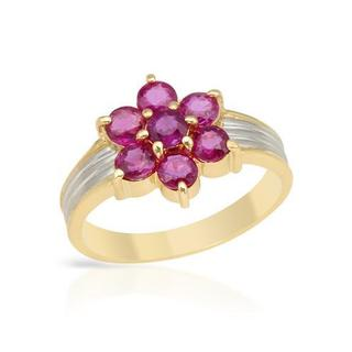 Ring with 0.98ct TW Rubies Crafted in 900/18K Platinum and gold.Total itam weight 3.4.