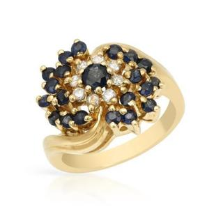 18k Yellow Gold Sapphire and Diamond Ring 1.02ct TW