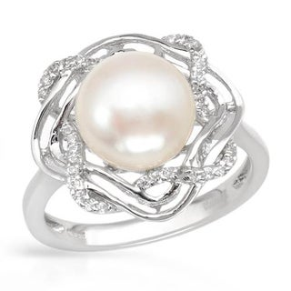 Ring with 0.7ct TW Cubic Zirconia and 9.5mm Freshwater Pearl 925 Sterling Silver