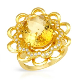 Cocktail Ring with 8.22ct TW Citrine and Cubic Zirconia of 18K/925 Gold-plated Silver
