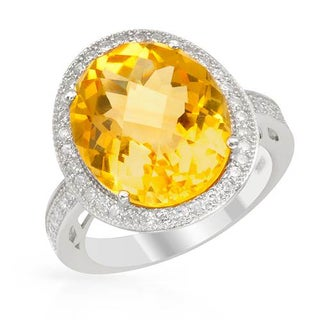 Cocktail Ring with 7.23ct TW Citrine and Cubic Zirconia of .925 Sterling Silver