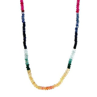 Necklace with 43.50ct TW Genuine Sapphires of 18K Yellow Gold