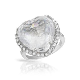 Heart Ring with Crystals/ Cubic Zirconia .925 Sterling Silver