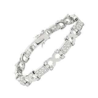 Sterling Silver Cubic Zirconia Geometric Bracelet