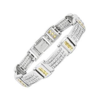 Unisex Sterling Silver Cubic Zirconia Embellished Bracelet