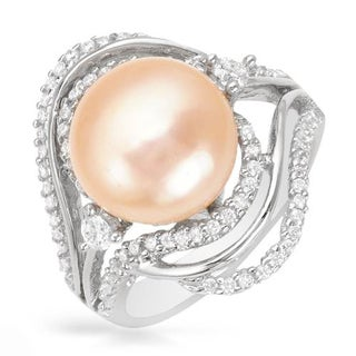 Ring with 0.76ct TW Cubic Zirconia and 12mm Freshwater Pearl in .925 Sterling Silver