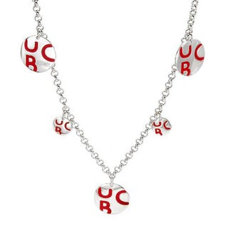 Benetton Red Enamel and Sterling Silver Circle Necklace