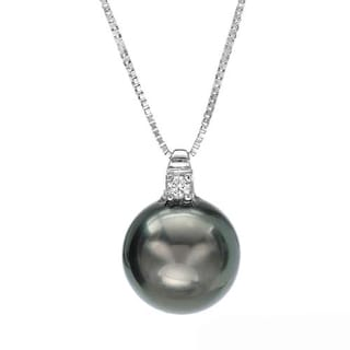 Pearl Necklace with Diamond/ 95mmTahitian Pearl 18K White Gold