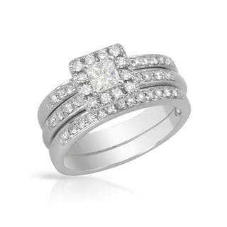 14k White Gold 3/4ct TDW Princess-cut Diamond Bridal Set