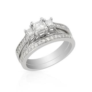 Ring with 0.78ct TW Princess-cut Diamonds Crafted in 14K White Gold