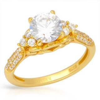 Ring with 3.1ct TW Cubic Zirconia 18K/925 Gold-plated Silver