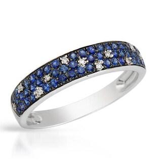 Vida Ring with Diamonds/ Sapphires 14K White Gold