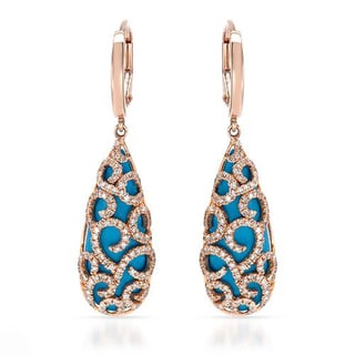 VIDA Earrings with 0.72ct TW Genuine Diamonds and Turquoises in 14K Rose Gold