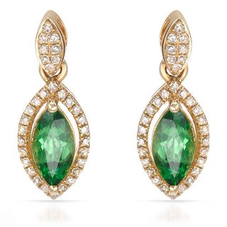 Vida 14k Yellow Gold 1.46ct TW Diamond Tsavorite Garnet Earrings