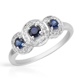 Vida Ring with 0.51ct TW Diamonds and Sapphires in 14K White Gold