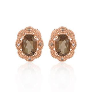 Earrings with 1.72ct TW Genuine Diamonds and Topazes in 14K Rose Gold