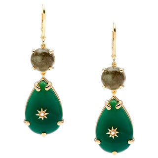 Yours by Loren Earrings with 20.78ct TW Agates, Labradorites and Zircons 14K/925 Gold-plated