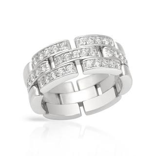 Pre-owned Cartier 18k White Gold 3/4ct TWD Diamond Ring (F-G, VS1-VS2)