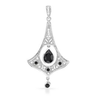 Pendant with 1.9ct TW Diamonds and Onyxes Crafted in 18K White Gold