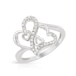Heart Ring with Diamonds in 925 Sterling Silver