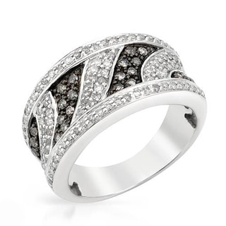 Sterling Silver 3/4ct TDW Black and Colorless Pave-set Diamond Ring (Size 6.5)