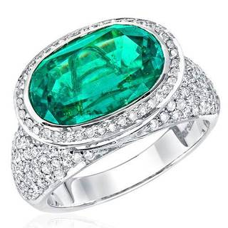 18k White Gold Ring with 1.33ct TDW Diamonds and Lab Grown Emerald