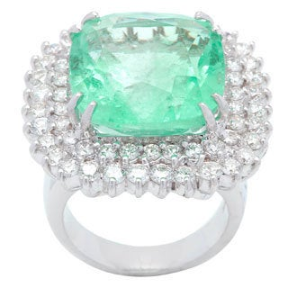 Cocktail Ring with 23.08ct TW Genuine Diamonds and Emerald Crafted in 18K White Gold