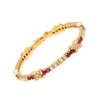Bracelet with 5.8ct TW Diamonds and Rubies in 18K Yellow Gold